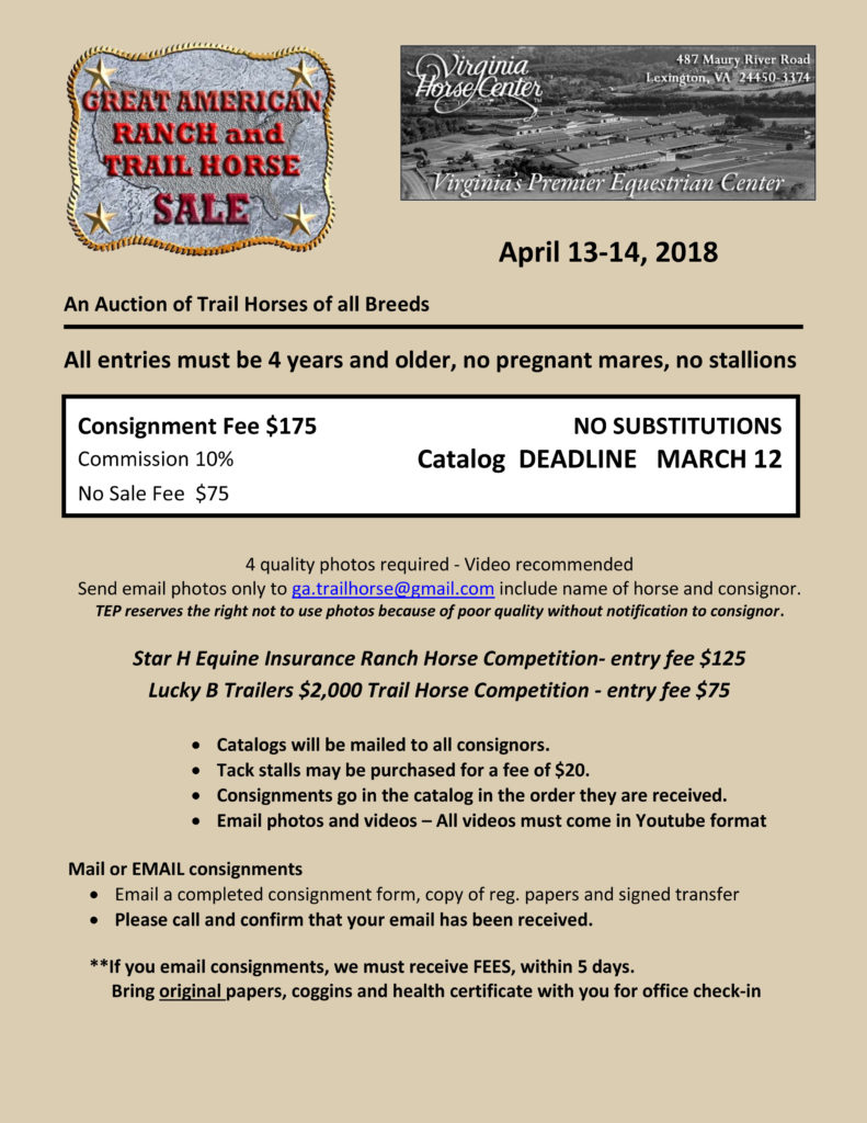 Consignment – Great American Ranch and Trail Horse Sale